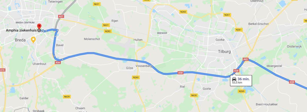 Google maps Breda-Eindhoven