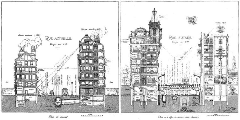 straat van de toekomst Eugène Hénard